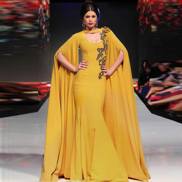 Dubai Yellow Celebrity Dresses Mermaid With Long Sleeve Prom Dresses 2016 Kaftan Open Bust vestido de festa Custom Made