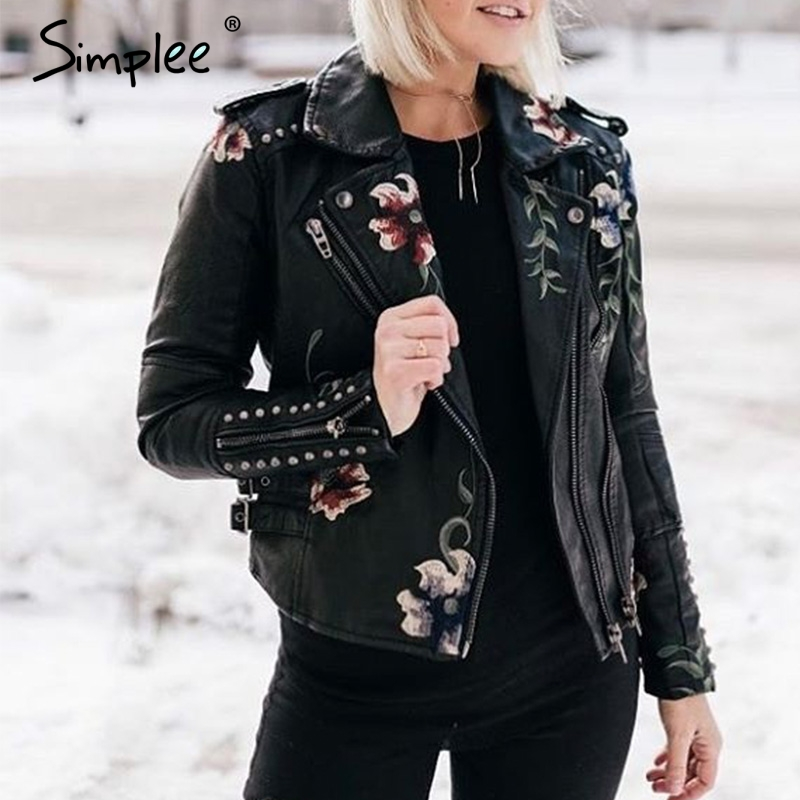Simplee Embroidery floral faux leather   jacket   White   basic     jackets   outerwear coats Women casual autumn winter   jacket   female coat