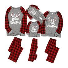 Рождественские пижамы для всей семьи; одинаковые комплекты одежды для сна в клетку; одежда для сна для папы, мамы и ребенка; рождественские пижамные комплекты