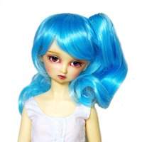 "[Wamami] 97 # blu ondulata lunga parrucca con morsetto per 1/4 msd aod dod bjd dollfie 7 ""-8"""