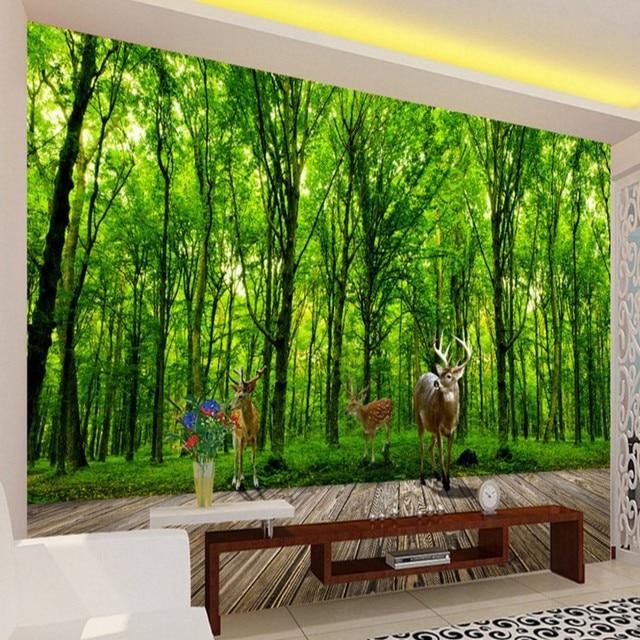3D foto behang Elanden Jungle 3D landschap achtergrond muur ...