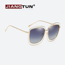 JIANGTUN Big Frame Hollow Metal Women Sunglasses Fine Alloy Fashion Brand Designer Glasses Retro Oculos De Sol Feminino