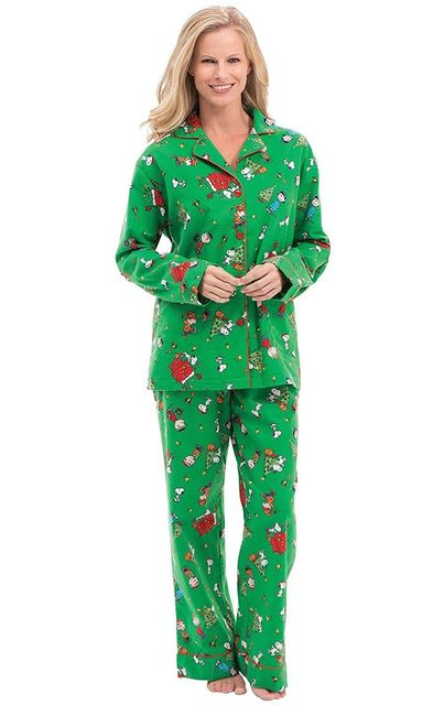Chistmas Green Cartoon Family Long Pajamas
