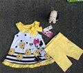 12 meses Do Bebê da Menina dos desenhos animados padrão colete vestidos de duas peças conjuntos de Vestido e Legging Conjunto minnie mouse