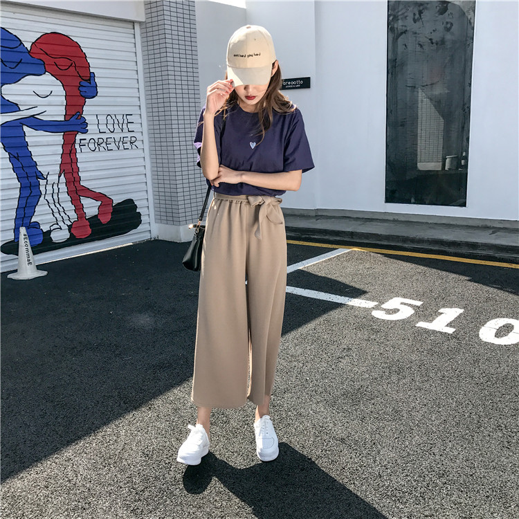 19 Women Casual Loose Wide Leg Pant Womens Elegant Fashion Preppy Style Trousers Female Pure Color Females New Palazzo Pants 7