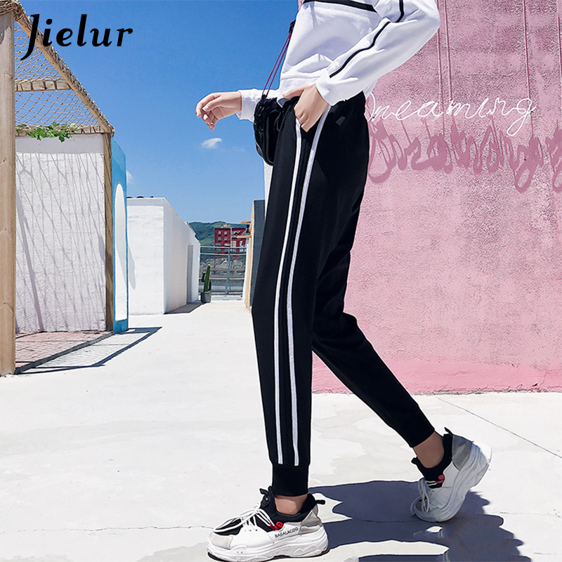 Jielur Fall White Striped Trousers for Women Kpop Vintage Hit Color Female   Pants   Loose Fitness Harem   Pants   Drawstring   Capris   2XL