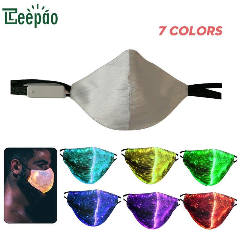 Fashionable LED Anti Dust Mask 7 Colors Luminous Light For Men Women Rave Mask Music Party Christmas Halloween Light Up Mask