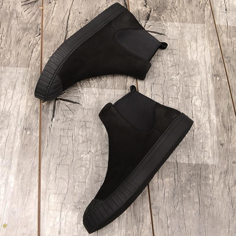 Chelsea Black Bootsgenuine Piel fósforo E Calidad Cachemir Invierno Otoño negro De Del Velvet Los Vaca Mens Hombres Corto Alta Cuero Zapatos Algodón Botas Todo X1xRAw