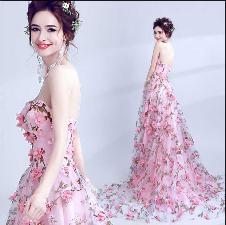 Custom Wedding Women Pink Strapless Ball Gown Evening Party Dress Unique Formal Dress Red Carpet For Lady Large Size 5XL gown