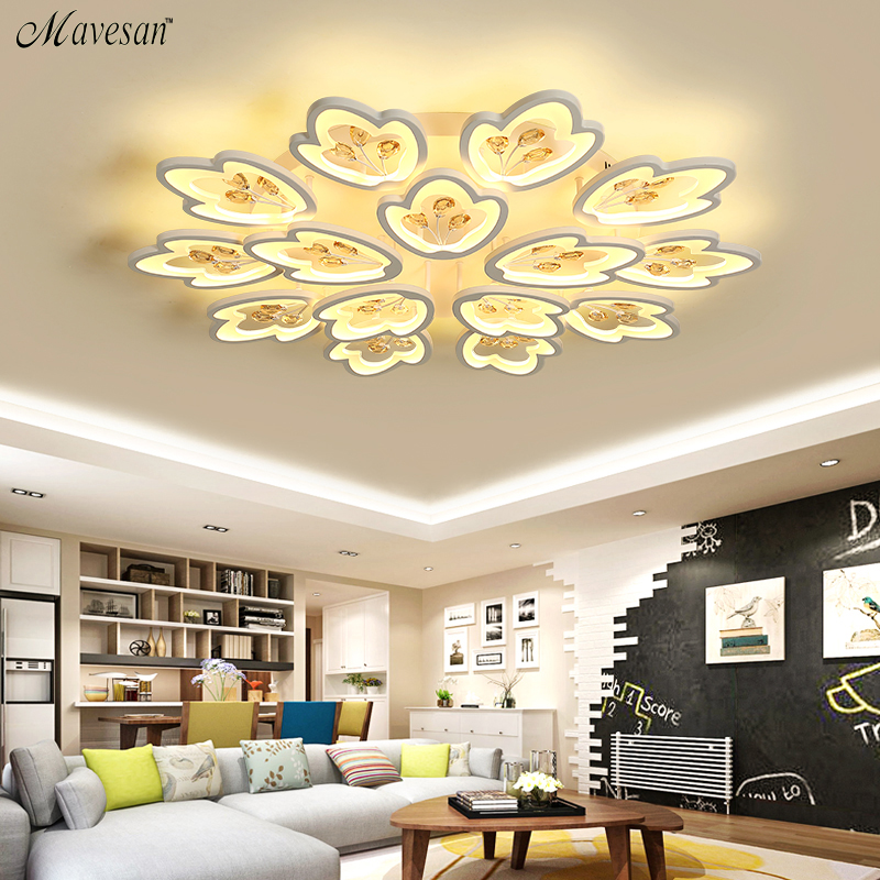Modern Led Ceiling Lights For Living Room Bedroom Study Room Crystal lustre plafonnier Home Deco Ceiling Lamp AC90-265V surface mounted ceiling lights for living study room bedroom home dec plafonnier ac90 260v modern remote control lamp home decor