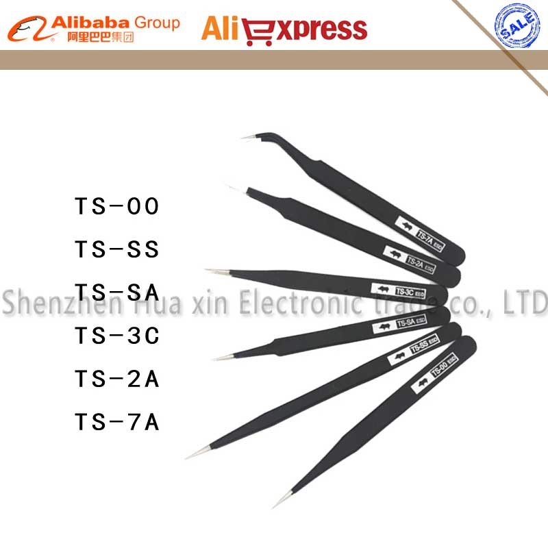 Free Shipping Original RHINO 6pcs/set Made in Japan High Hardness ESD stainless Tweezers tools kit Tweezer Set lm64c142 industrial lcd original made in japan a in good condition