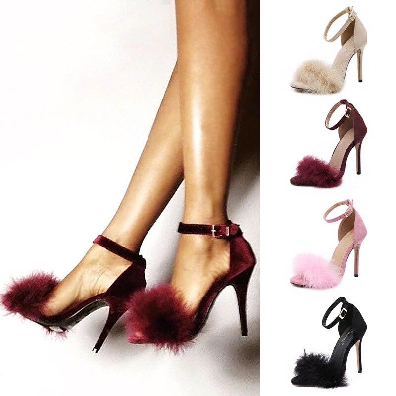 High Heels Summer Women Shoes Fur Women Pumps Stiletto Suede Women Heels Women Sandals Buckle Ladies Shoes Footwear Plus Size 43