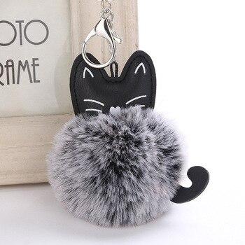 цена Cute Cat Keychain Pompon Key chain Fluffy Artificial Rabbit Fur Ball Key Rings Women Bag Car Charm Pendant pom pom holder Gift35 онлайн в 2017 году
