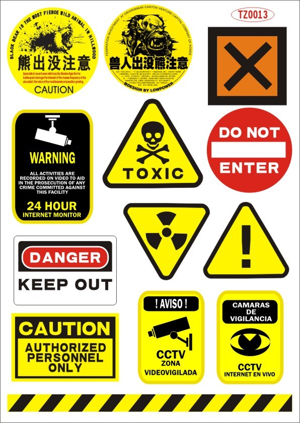 Yellow and black warning logo guitar doodle laptop stickers waterproof sunscreen removable pvc car stickers