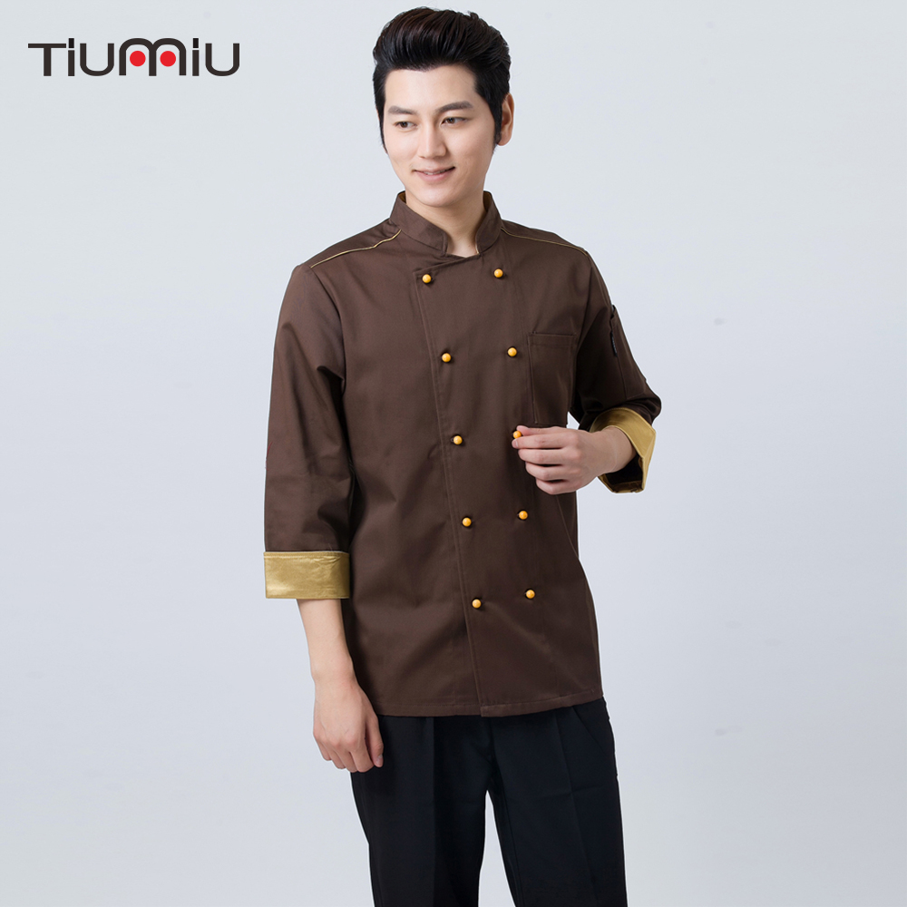 High Quality Men's Chef Kitchen Cooking Uniform Workwear Clothing Food Service Restaurant Cuisine Waiter Coat Jackets Overalls