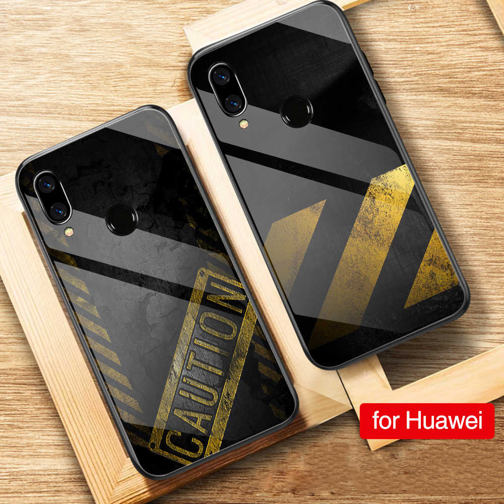 FinderCase for Huawei Note 10 Case Caution Sign Tempered Glass Case for Huawei Mate 9 10 Pro P10 P20 Honor V9 V10 Play Nova 3e
