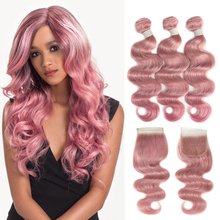 Joedir Brazilian Virgin Hair Body Wave WIth Closure Human Hair Weave Bundles With Lace Closure Red Pink Bundles with Closure