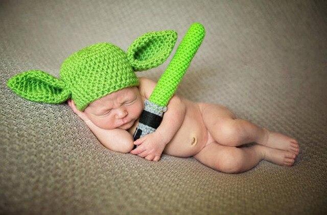 Crochet Bebé Yoda Sombrero y el Sable Conjunto Recién Nacido, 0 3, 3 ...
