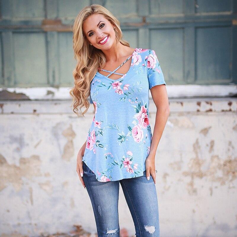 HTB14q8vQVXXXXcnXFXXq6xXFXXXI - 2017 Fashion Floral Print T-shirts Women Female Summer Top Casual