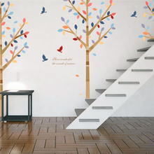 colorful tree flying birds wall stickers living room bedroom room decor pvc pattern wall decals art diy modern removable poster removable diy tree and birdcage pattern wall sticker for living room decor
