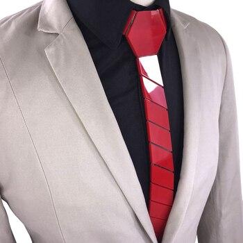 GEOMETIE Brand Fashion Men Red Necktie Slim Fit Glossy Striped Tie Minimalist Style Neck tie All Match Accessory