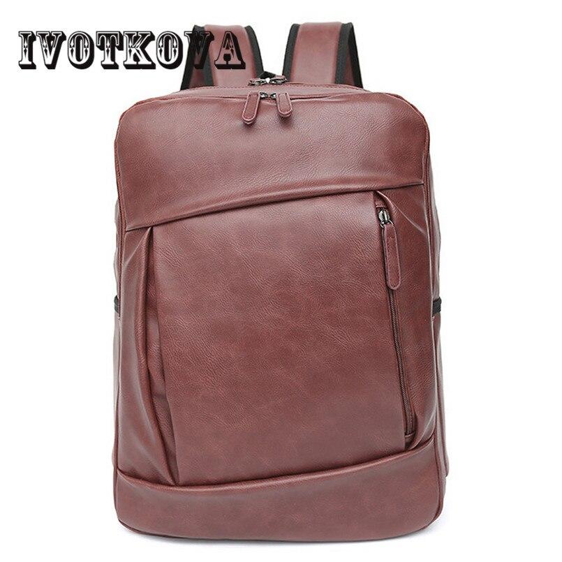IVOTKOVA Pu Leather Mens Backpack Bag Brand 14 inch Laptop Notebook Mochila for Men Waterproof Back Pack school backpack bag