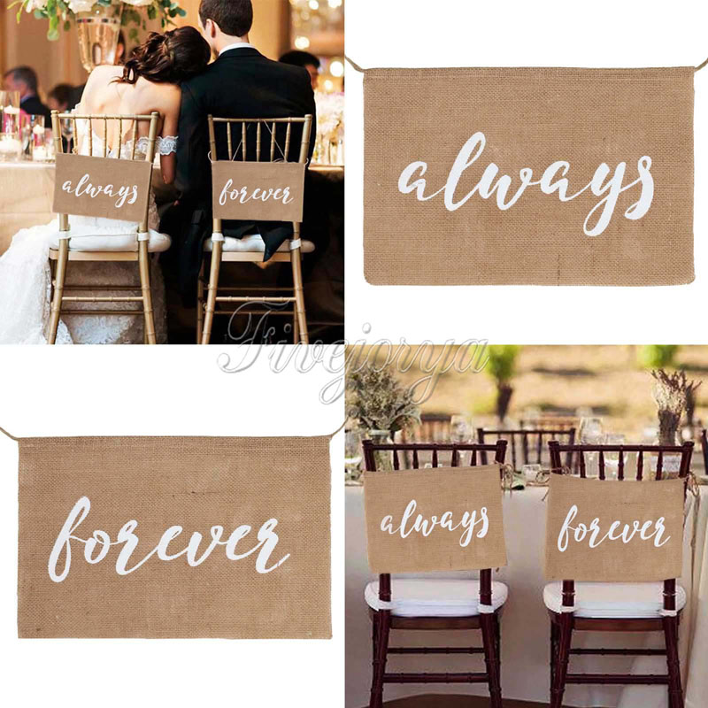 always forever Burlap Chair Banner Burlap Chair Sign for Groom Bride Garland Rustic Wedding Party Decorations