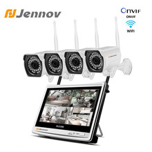 4Ch 12inch LCD Screen NVR kit Surveillance Camera ip System CCTV Wifi Wireless Security Cameras 4PCS HD Ipcam Waterproof outdoor(China)