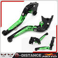 CNC Adjustable Folding Extendable Brake Clutch Levers For KAWASAKI Z800/E version 2013-2016 Green+Black