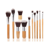 1 PC Oblique Head Brush 11 PCS Cosmetic Makeup Brushes 1 PC String Makeup Bag For