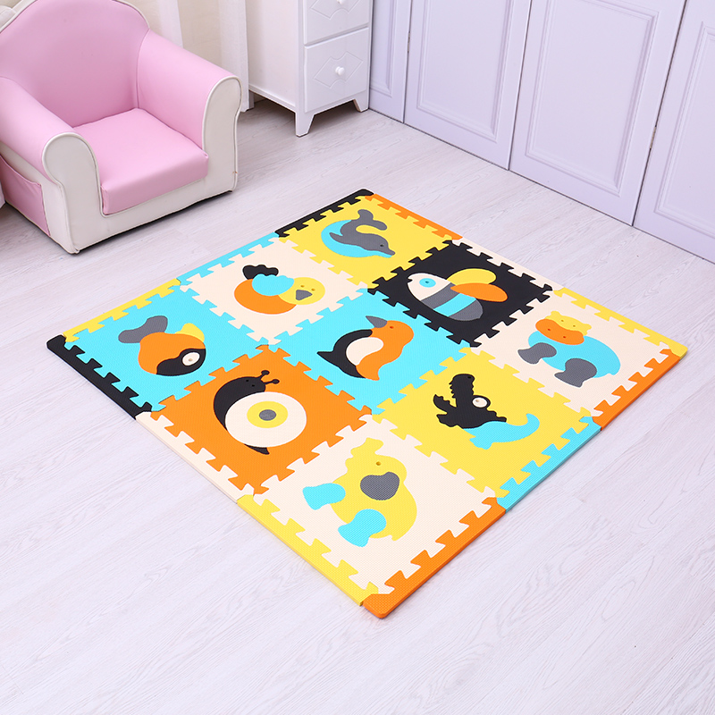 meiQicool childrens puzzle thick 1cm crawling pad with long edges climbing pad stitching foam baby play mat interlocking puzzle