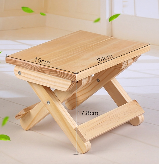 Simple Portable Folding Wooden Stool Ottomans for Kids, Living Room Bathroom Kitchen Stool, Outdoor Fishing Stool, Small Chair