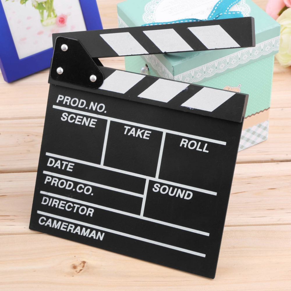 Movie Clapperboard Wood Director Video Scene Clapperboard TV Movie Clapper Board Film Slate Cut Prop Wholesale 20x20x1.5cm