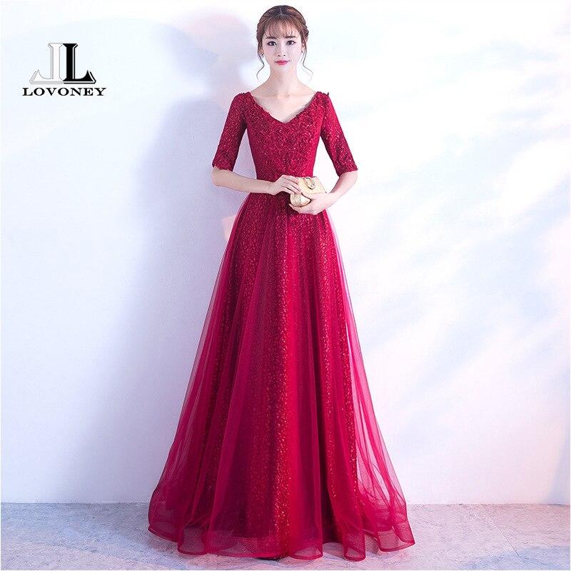 LOVONEY Elegant A Line V Neck Long Evening Dress 2018 Half Sleeves Formal Dress Evening Party