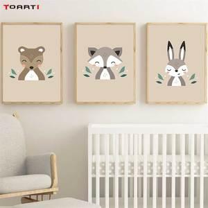 Image 2 - Animais da floresta dos desenhos animados quadros de arte da parede moderno quadros da lona do macaco veado raposa para crianças quarto do berçário decoração casa