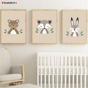 Image 2 - Forest Cartoon Animals Prints Posters Modern Wall Art Pictures Monkey Deer Fox Canvas Painting For Kids Nursery Room Home Decor