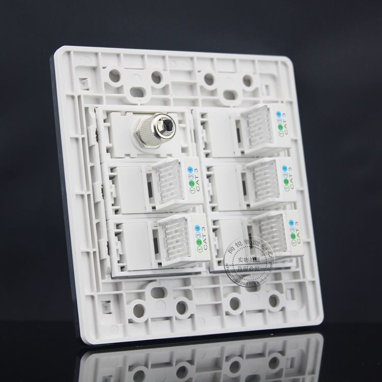 120x120MM Five RJ11 Cat3 Telephone Wall Plate & TV Socket Outlet Panel Faceplate atlantic brand double tel socket luxury wall telephone outlet acrylic crystal mirror panel electrical jack