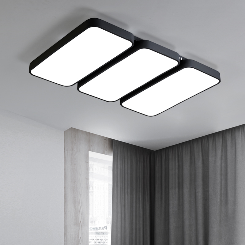 DAR Minimalist Rectangle Modern Led Ceiling Lights For Living Room Black White Chandelier Ceiling Lamp Fixtures Luminaria Avize