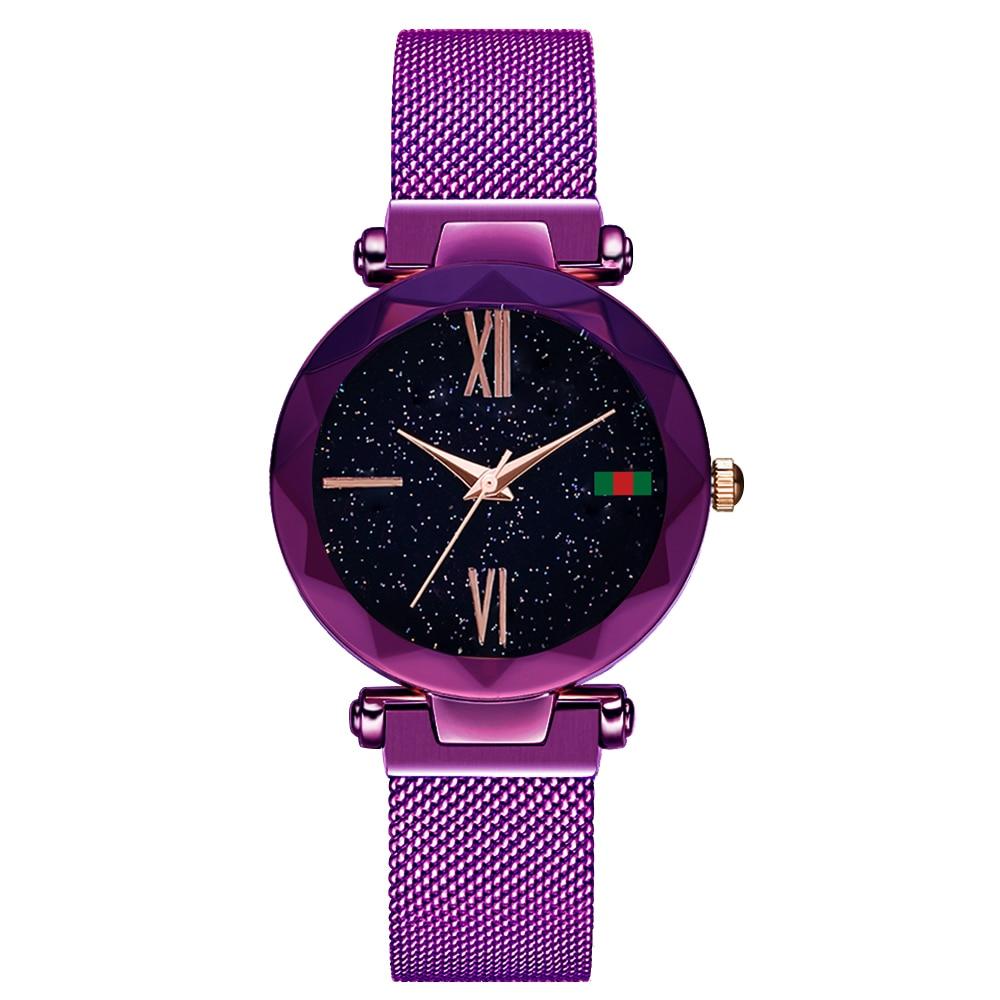 цена на Hannah Martin Women Watches Quartz Mesh Stainless Steel Magnetic Watch Band Star Bling Dial Ladies Wrist Watch Relogio Feminino
