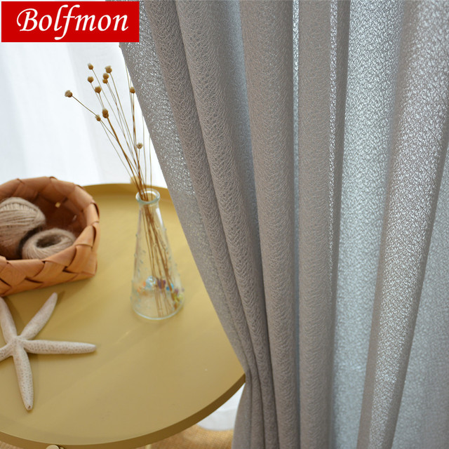 Thicken Pure Colors Classical Elegant Grey Tulle Sheer Fabric Curtain For Bedroom Living Room Window Decor