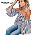 VESTLINDA Striped Choker Top Sexy Blusa Off Shoulder Choker Shirt Lantern Sleeve Women T-shirt Leisure Tops Striped Tee Shirts