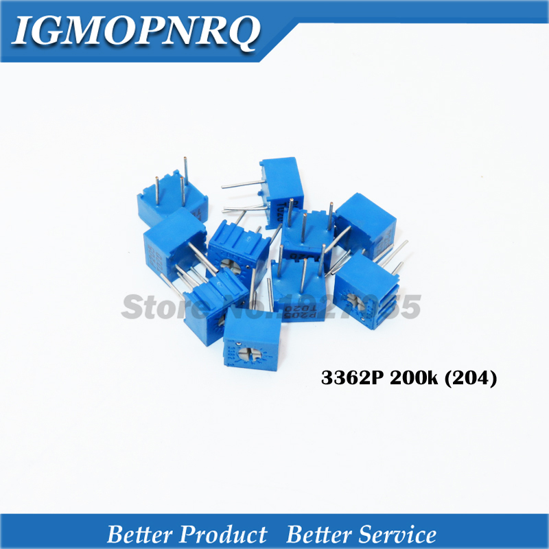 10Pcs/Lot 3362P-1-204LF 3362P 204 200K <font><b>ohm</b></font> Trimpot Trimmer Potentiometer Variable <font><b>resistor</b></font> new original image