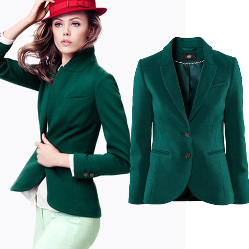 Spring 2015 New Fashion Color Deep Green Slim Women Blazer