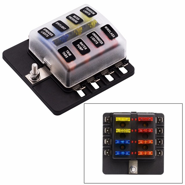 8 Way ATC ATO Blade Fuse Box LED Indicator for Blown Fuse Protection Cover 100 Amp_640x640 burned fuse box blown 20 amp fuse box \u2022 wiring diagrams j squared co 200 Amp Fuse Box at virtualis.co