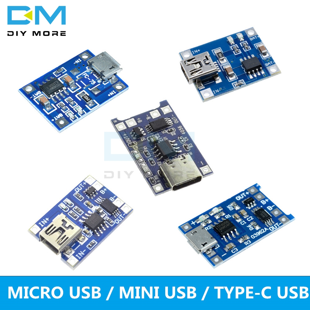 Type-c/Micro/Mini USB 5V 1A 18650 TP4056 Lithium Battery Charging Board Charger Module With Protection Dual Functions 1A Li-ion