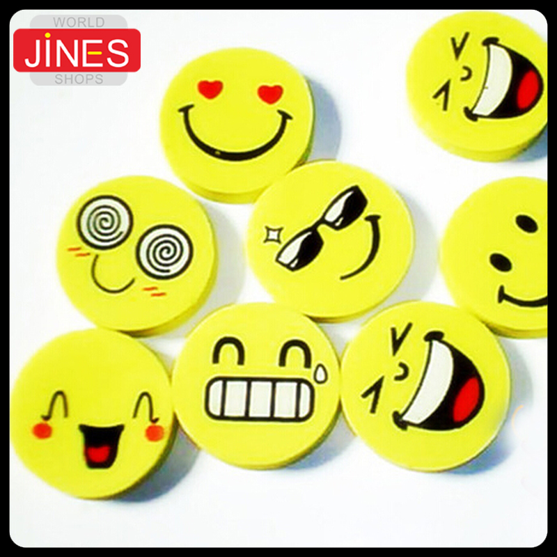 50pcs School Supplies Office Supplies Stationery Cute Smiling Face Eraser Funny Pencil Rubber Wholesale Cartoon Eraser