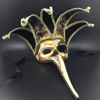 Creative Black/Red Five Horn Long Nose Venetian Mask with Bell Handmade Full Face Halloween Mask Party Favor DEC163