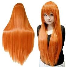 Women's Orange Wig Long Hair Wigs With Bangs Wig Cosplay Straight Wig  Sale