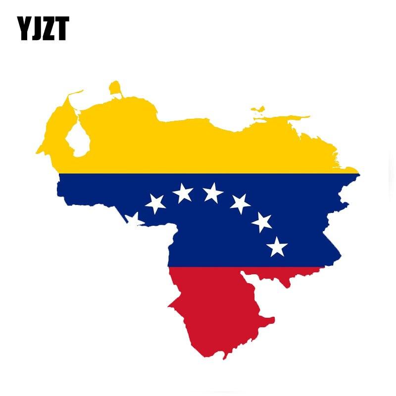 YJZT 13CM*14.9CM Car Reflective Venezuela Map Flag Car Sticker Decal Accessories 6-0425