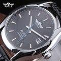 Vencedor Relógio Mecânico Simples Calendário Pulseira de Couro Preto de Alta Qualidade Relógio Automático Dos Homens de Negócios Vestido de Pulso Presente